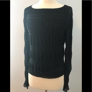 ANNE KLEIN Long Sleeve Textured Semi Sheer Shirt M